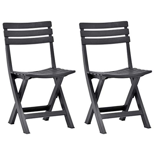 pedkit Folding Garden Chairs Garden Reclining Chairs Bistro chairs 2 pcs for Garden or Patio Plastic Anthracite