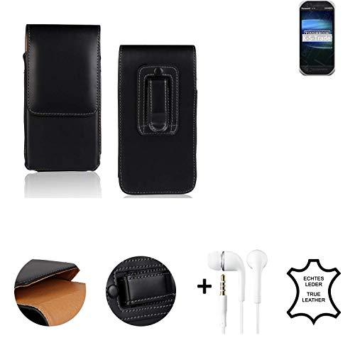 K-S-Trade® Leder Gürtel Tasche + Kopfhörer Für Panasonic Toughbook FZ-T1 Seitentasche Belt Pouch Holster Handy-Hülle Gürteltasche Schutz-Hülle Etui Schwarz 1x