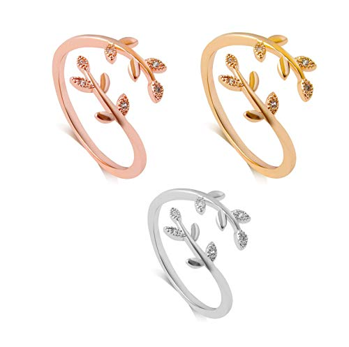 3pcs Grow Through What You Go Through Adjustable Leaf Ring S925, Adjustable Leaf Ring Open Ring Jewelry Gift for Girl Women, As a Mothers Day Gifts