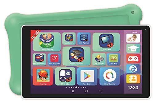 Lexitab Deluxe – Tablet-PC für Kinder, 10 Zoll (25,4 cm) mit Lern-Apps, Spiele und Steuerung der Eltern – mit Schutztasche – Android, WLAN, Bluetooth, Google Play, YouTube, Weiß/Grün, MFC514FR