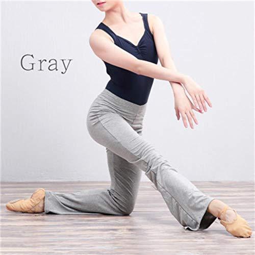 HPPLCotton Flare Lange broek Dames Meisjes Hoge taille Stretch Bell-bodems Ballet Fitness Yoga Dansbroek, Grijze lange broek, XL170 tot 173cm