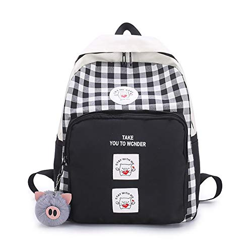 Korean Style Plaid Backpack Purse Cute Pig Pattern Daily Travel Daypack Backpacks for Boys Girls