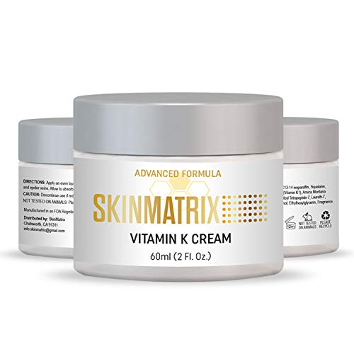 Vitamin K Cream- Reduces the Appearance of Bruising, Dark Under Eye Circles, Spider Veins, Broken Capillaries, Redness, and Age Spots for Face & Body.