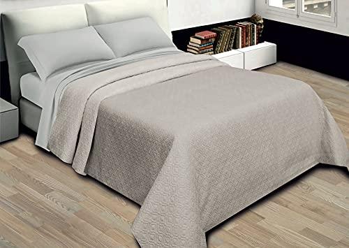 GoldenHome Tagesdecke für Frühling, 100 g/m², einfarbig, aus Mikrofaser. Aurora Tagesdecke für Einzelbett, Bettüberwurf für französisches Bett, Doppelbett Matrimoniale (255 x 255 cm) Beige/Avorio