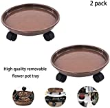 """15.5"""" Brown Plant Caddy,Rollers Dolly Holder on Wheels Flower Pot Mover Indoor Outdoor Planter Trolley Plant Stand (2pcs)"""