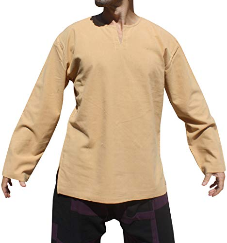 RaanPahMuang Brand Soft Summer Cotton Open Thai Farmers Collar Long Sleeve Shirt, X-Large, Brown