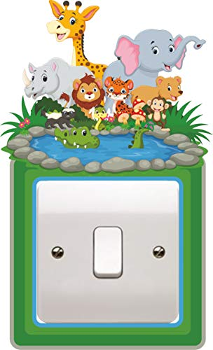 SR4 Animal Jungle Light Switch Surround Sticker Plug Bedroom Wall Art Cover