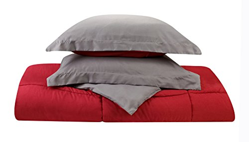 Clara Clark Goose Down Alternative Reversible 2 Piece Comforter Set - Includes 1 Pillow Shams, Twin XL Size, Gray/Red