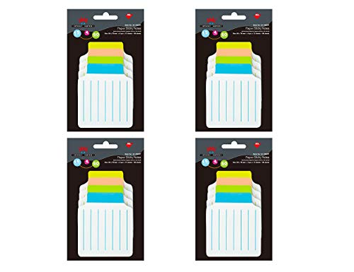4A Divider Sticky Notes,Note Tabs,3 3/8 x 2 3/4 Inches,160 GSM White Paper,Lined,15 Sheets/Divider,4 Divders/Pack,Self-Stick Notes,60 Sheets/Pakcs,4 Packs,4A 40607x4