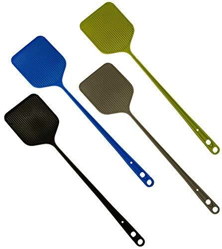 4 er SET Fliegenklatsche EXTRASTARK mit integriertem Mückenschaber Insektenschutz Fliegenschutz Mückenschutz für Fliegen, Mücken und Insekten, farblich sortiert