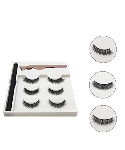 ZRSZ Cils Magnétiques Kit Eyeliner Magnétique Cils Artificiels Réutilisables Eyeliner Liquide Imperméable Avec Pince (3 Paires)