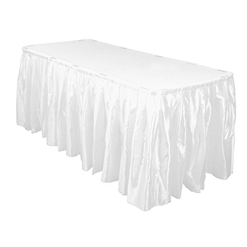 LinenTablecloth 14 ft. Accordion Pleat Satin Table Skirt White