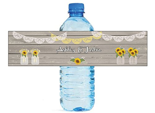 100 Sunflower Vases on Rustic Wood Wedding Anniversary Engagement Party Water Bottle labels Bridal Shower Birthday