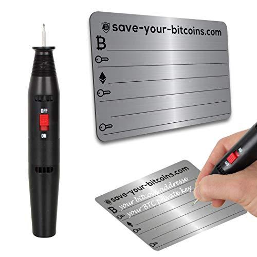 Save-Your-Bitcoins Private Key - Recovery Metallplatte aus Edelstahl (V4A), Kit mit 1 Platte + Gravierstift