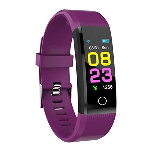 Sport Smart Watch waterdichte activiteitstracker armband polshorloge brim mannen vrouwen smartwatch voor Android IOS (kleur: paars)
