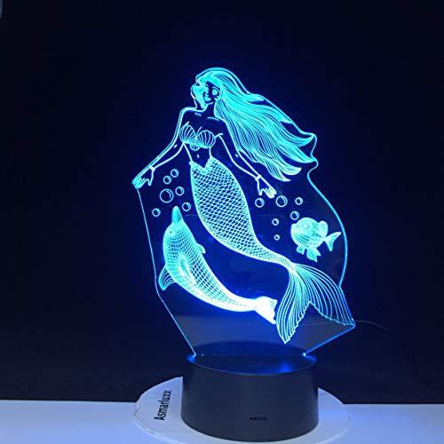 jiushixw 3D acryl nachtlampje met afstandsbediening van kleur veranderende tafellamp dolfijn prinses baby slaapkamer party Kerstmis Nieuwjaar cadeau zuiger lamp superheld