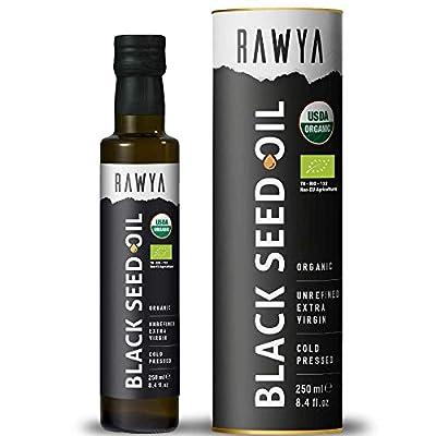 Rawya, Black Seed Oil, Organic, 250 ml, Cold Pressed, No Additives, No preservatives, in Glass Bottle, Nigella Sativa, Black Cumin Seed Oil, Kalonji, Bio, Strong Taste, Non-GMO