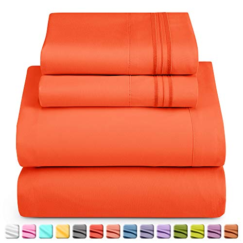 Nestl Luxury Queen Sheet Set - 4 Piece Extra Soft 1800 Microfiber-Deep Pocket Bed Sheets with Fitted Sheet, Flat Sheet, 2 Pillow Cases-Breathable, Hotel Grade Comfort and Softness - Orange