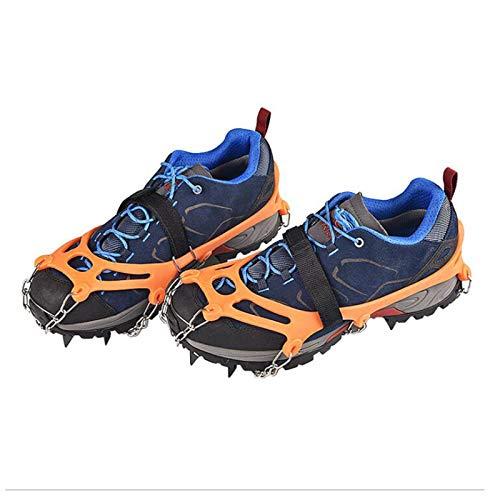XHDH Empuñaduras de nieve de hielo, crampones de tracción para zapatos antideslizantes, 12 pinchos de acero inoxidable seguros para proteger para senderismo, pesca, caminar, trotar, montañismo