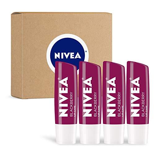 NIVEA Blackberry Lip Care – Tinted Lip Balm for Beautiful, Moisturized Lips, 4 Count