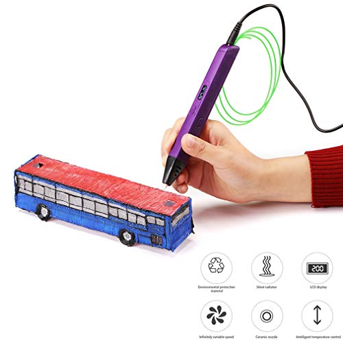 HWUKONG 3D Printing Pen, for Kids Drawing Pen Painting Toy Professional Printing 3D Pen with LED Display Applicable ABS/PLA Filament Material,Purple