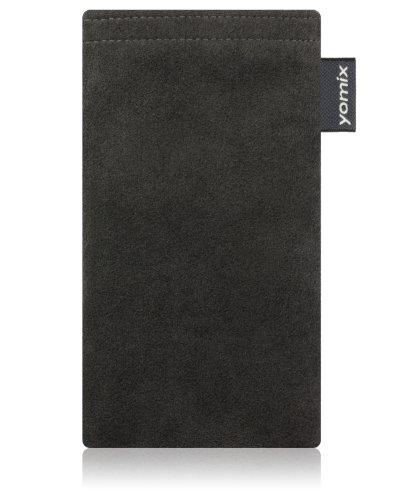 yomix CUSTODIA porta cellulare Hugo grigio per Nokia Lumia 820 PureView in alcantara con funzione pulisci display grazie all?imbottitura in microfibra