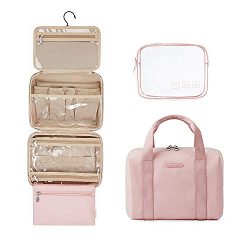 BAGSMART Toiletry Bag Hanging Travel Organizer with TSA Approved Transparent Cosmetic Bag and Detachable Makeup Pouch for Full Sized Toiletries,Pink