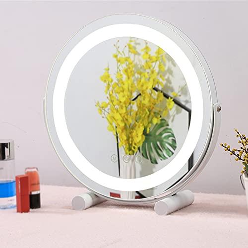 JXCAA Espejo De Maquillaje LED Redondo, Espejo Maquillaje con Luz, Espejo De Tocador De Escritorio Redondo, Interruptor Táctil, Luz De Tres Colores Ajustable, Negro, Blanco, Dorado, 50 * 53 Cm