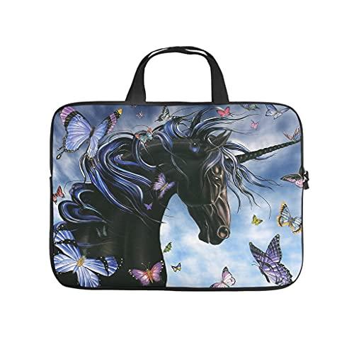 Facbalaign Legende - Funda para portátil con asa, diseño de unicornio y mariposas, color negro