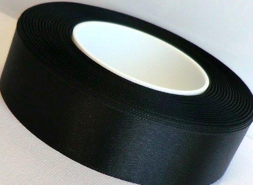 SATINBAND 25m x 25mm SCHWARZ Schleifenband SATIN Geschenkband DEKOBAND Trauerband