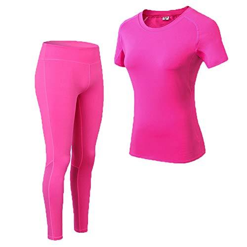 Shimmery Women's 2-Piece Stretch Activewear Short Sleeve T-Shirt Top + Pants Workout Set Black S