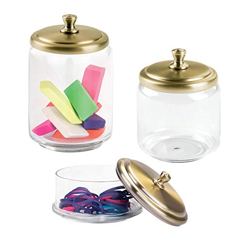 mDesign Office Desk Glass Apothecary Jars for Erasers, Paperclips, Rubber Bands - Set of 3, Clear/Soft Brass