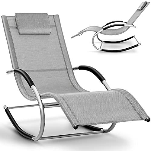 tillvex Relaxliege Gartenliege faltbar | Liegestuhl wetterfest | Schwungliege 150 kg Belastung | Sonnenliege atmungsaktiv (Grau)
