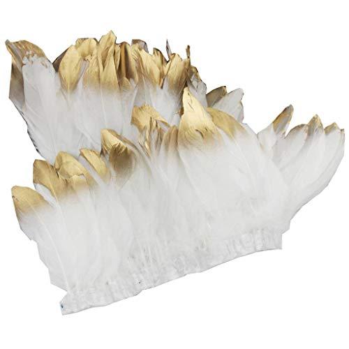 ERGEOB Ente Feder Stoffstreifen 2 Meter - Ideen für die Bekleidung, Kostüme, Hüte. weiß mit Gold spitz