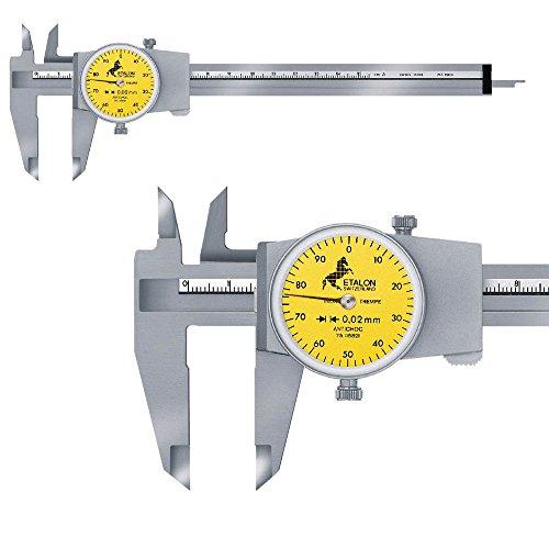 TESA Messschieber mit Rundskala 150 mm / 0,02 mm ETALON 125 075115821 mit eckigem Tiefenmaß 1 mm pro Zeigerumdrehung, Ohne Antriebsrad