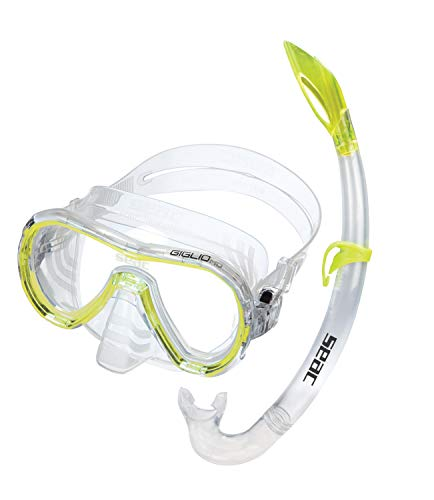 Seac Set Giglio MD, Kit maschera sub e boccaglio snorkeling per viso piccolo