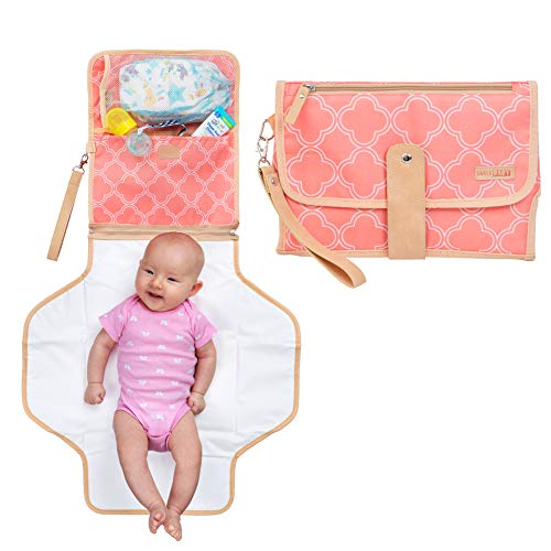 Portable Changing Pad & Clutch Station for Baby Girl | Pink | Perfect Gift for Baby Shower | Infants & Newborns | Waterproof Liner & Head Cushion | Travel Organizer with Stroller Strap & Diaper Bag