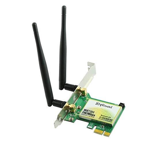 Ziyituod Scheda WiFi AC7265, Adattatore Wireless 1200Mbps, Scheda WiFi PCIe 802.11ac Bluetooth4.2, Doppia Banda 4X4 (2.4GHZ+ 5GHZ), Supporto per Windows 10, Chrome OS e Linux