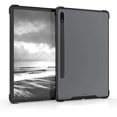 kwmobile Funda Compatible con Samsung Galaxy Tab S7 - Carcasa Trasera para Tablet de Silicona TPU - Negro/Transparente