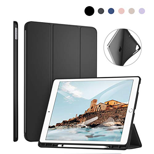 ZtotopCase Case for iPad Pro 12.9 Inch 2017/2015 with Pencil Holder,for Model A1670/A1671/A1584/A1652,Slim Lightweight Soft TPU Back Cover,Tri-fold Stand,with Auto Sleep/Wake Function,Black