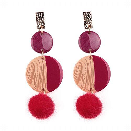 E-Z Stilvolle Einfachheit Geschenkidee für Frauen Winter Einfache Geometrische Textur Wafer Ohrringe Plüsch Federball Mehrere Schichten von Langen, Hit-Farbe Ohr Fallen Mädchen