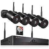 [Audio Enregistrer] 5.0MP Système de Vidéo Surveillance WiFi, Jennov Kit de Caméra Ensemble de Sécurité, 4CH NVR avec 4pcs 1920P CCTV Caméra 1TB Disque Dur et Microphone Intégré Intérieur Extérieur