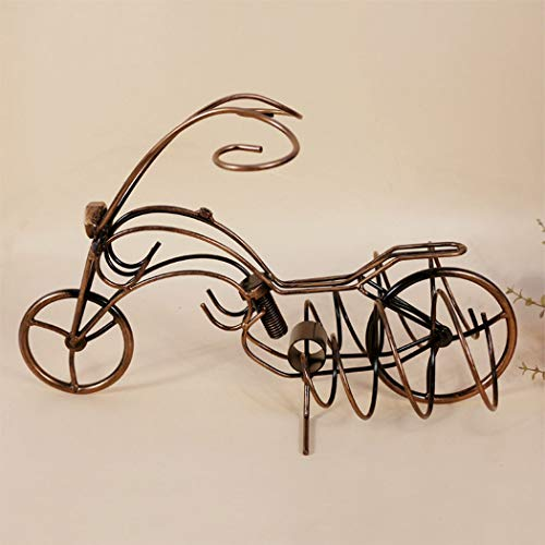 MALPYQB Motocicleta de Hierro Estante de Vino Rojo Colgante Estante de Vino de Cristal Creativo vinoteca decoración Adornos artesanías Europeas,Bronze