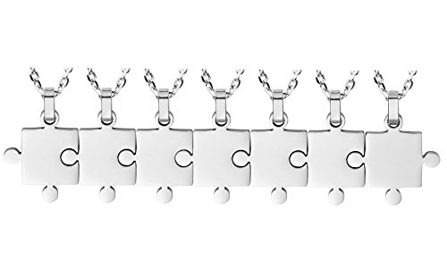 Kebaner 7 Piece Stainless Steel Necklace Set BFF Puzzle Couples Friendship Jewelry