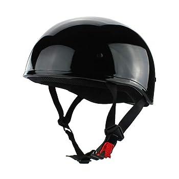Skull Cap Half Motorcycle Helmet Gloss Black DOT Approved