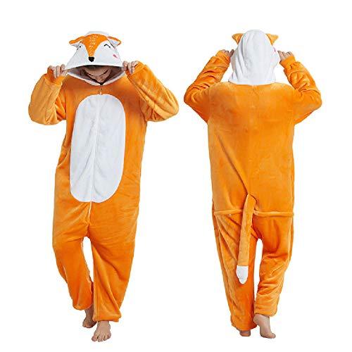 Pijama para Mujer Diseo De Animales Ropa De Casa para Dormir De Una Pieza, Disfraz De Cosplay para Fiesta Naranja Zorro