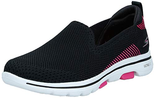 Skechers Women's GO Walk 5 - PRIZED Shoe, Black/Pink, 7.5 M US