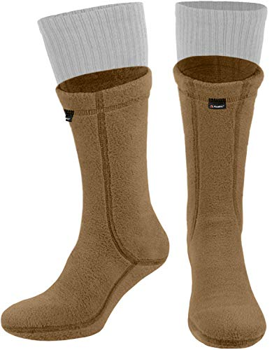 281Z Hiking Warm 8 inch Boot Liner Socks - Military Tactical Outdoor Sport - Polartec Fleece Winter Socks (Large, Coyote Brown)