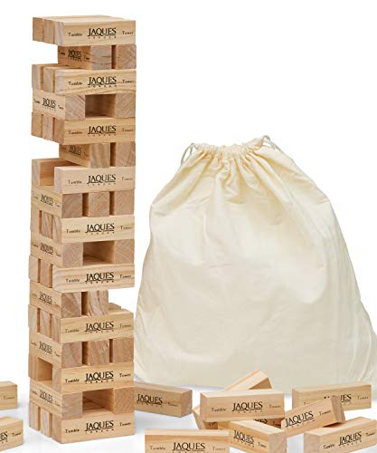 Garden Tumble Tower - Larger Sizes Available from Jaques - Including Cloth Drawstring Bag, Great Garden Games for Adults & Garden Toys for Children
