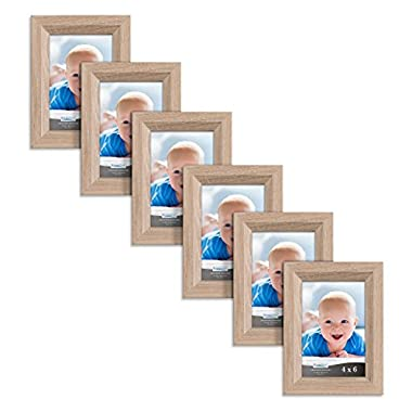 Icona Bay 4x6 Picture Frames 6 Pack (4 x 6, Weathered Oak Wood Finish), Picture Frame Set for Wall or Table Top, Cherished Memories Collection